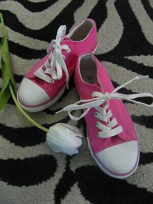 Coole Mädchen Schuhe Gr. 33 Leinenschuhe Sneaker Pink Weiß Top