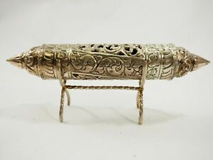 Vintage-handmade-Silver-Torah-Scroll-Holder-with-stand