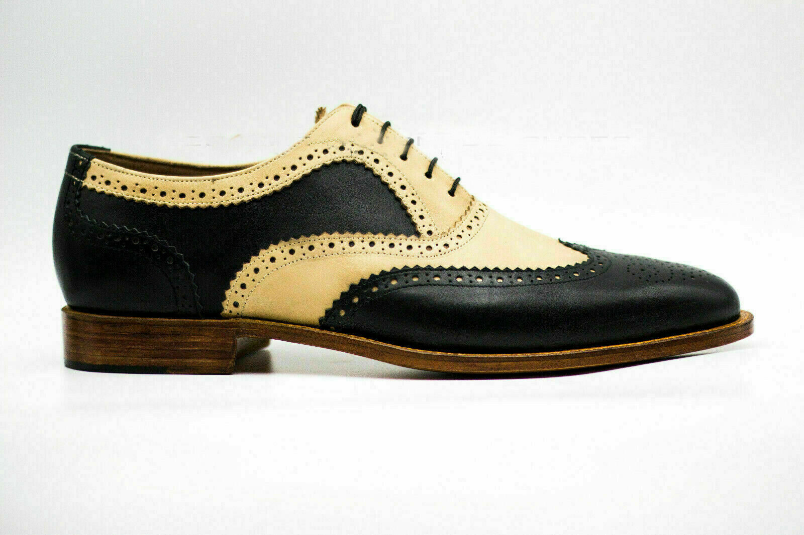 Mens Handmade shoes Leather Two-Tone Oxford Brogue Formal Wingtip LaceUp Boots