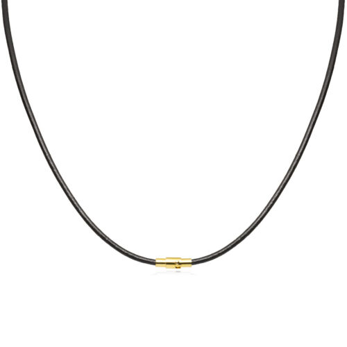 """36/"""" 4mm Black Leather Cord Necklace Choker Gold Toned Magnetic Clasp 14/"""""""