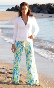 NWT LILLY PULITZER XS BEACH PANT RESORT WHITE CRYSTAL COAST