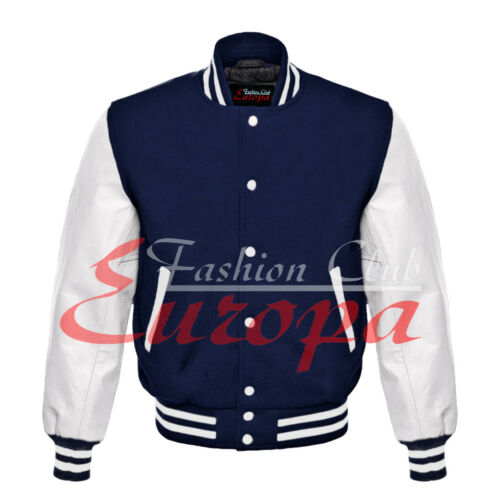 College University Letterman Varsity Wool Jacket with White Real Leather Sleeve