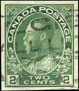 1924-Used-Canada-2c-Imperforate-VF-Scott-137-King-George-V-Admiral-Stamp