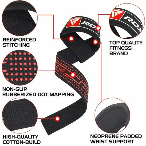 RDX Weight Lifting Wrist Straps 5mm Padded Support Hand Bar Grips Gym Wraps