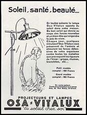 Publicité LAMPE UV Bronzage Cosmetique   Art Deco vintage print ad 1960 -10hb