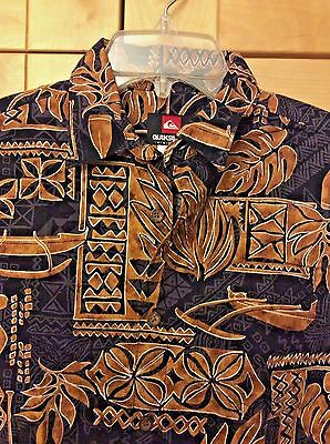 Quiksilver Boy's Black & Brown 100% Cotton Hawaiian Camp Surf Shirt 12/14 M
