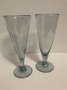 "2 Footed Aqua Blue Rim Mexican Glasses Bubble Hand Blown Pilsner Beer Bar 9.5"""