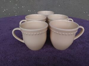 Pottery-Barn-Emma-Yellow-Beaded-Cups-Mugs-4-034-Set-of-5