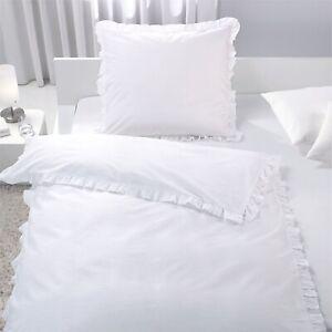 7dreams® Bettwäsche Rüschen 135x200/80x80cm Weiß - 2er Pack