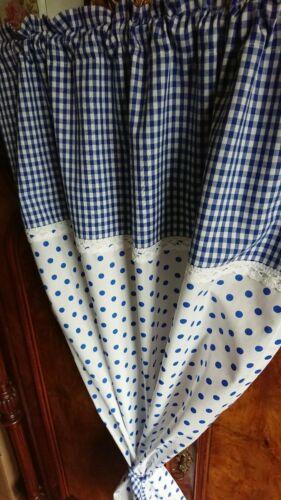 1 x Vorhang,weiß,blau,Landhaus,Shabby,68//150cm