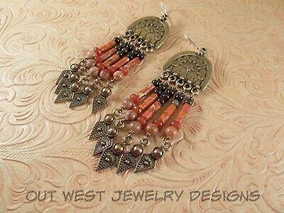 Gemstone Fringe Dangles Boho Gypsy Cowgirl Style Orange Variscite Jasper Jade and Black Obsidian with Brass Earrings
