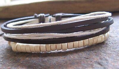 Armband Braun Weiß Beige Damen Holz Herren Surferarmband Leder Herrenarmband Neu