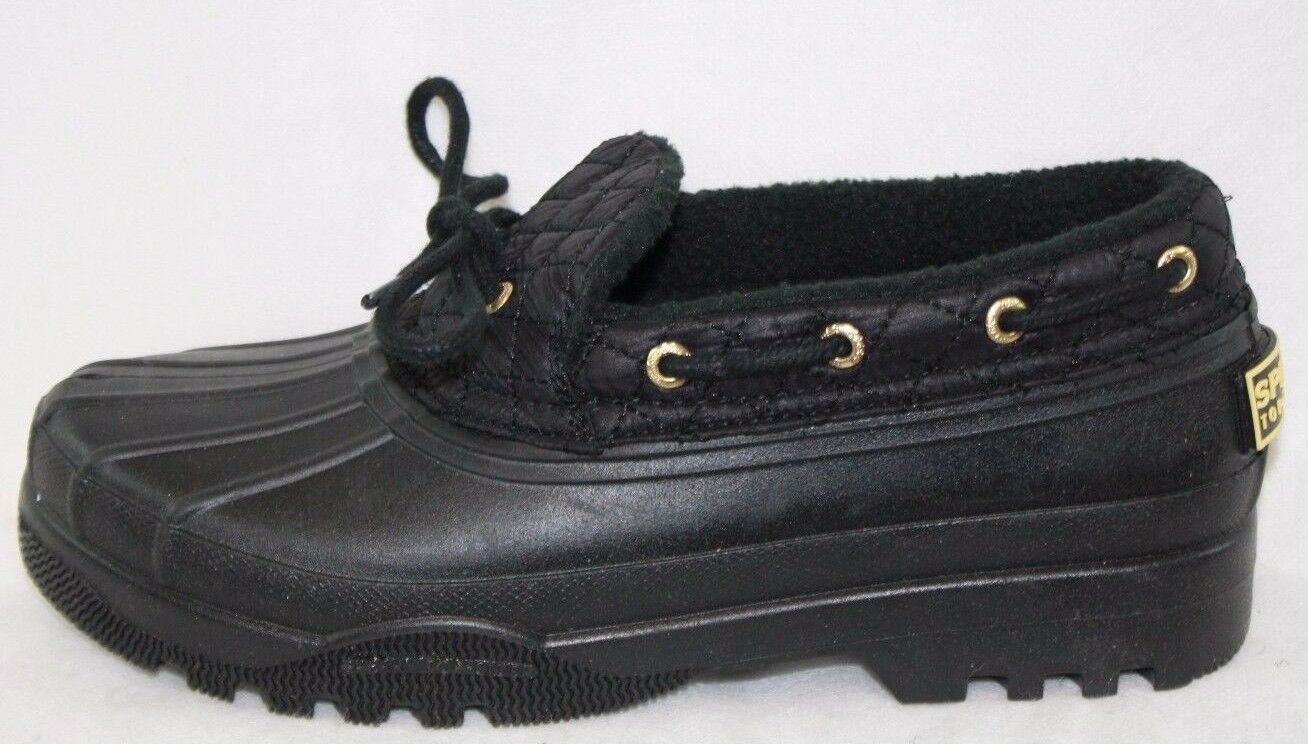 NEW Womens SPERRY Duckling Matte Black Black Black STS95272 Low Rain Boots shoes 1c0601