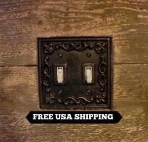 Details About Metal Double Light Switch Plate Cover Old World Tuscan Meval Fleur De Lis