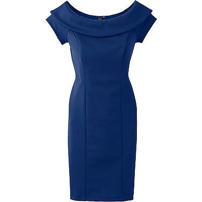Carmen Kleid Gr. 32 34 blau Minikleid Kragen enges Stretchkleid schick