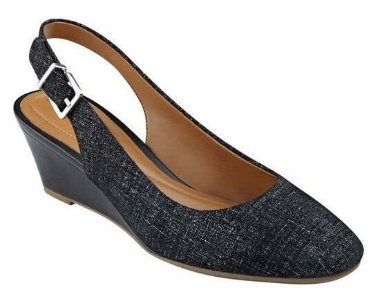 d381b1b94c6 Easy Spirit Safra Wedge Slingback PUMPS Black Leather Print Sz 9 Med for  sale online