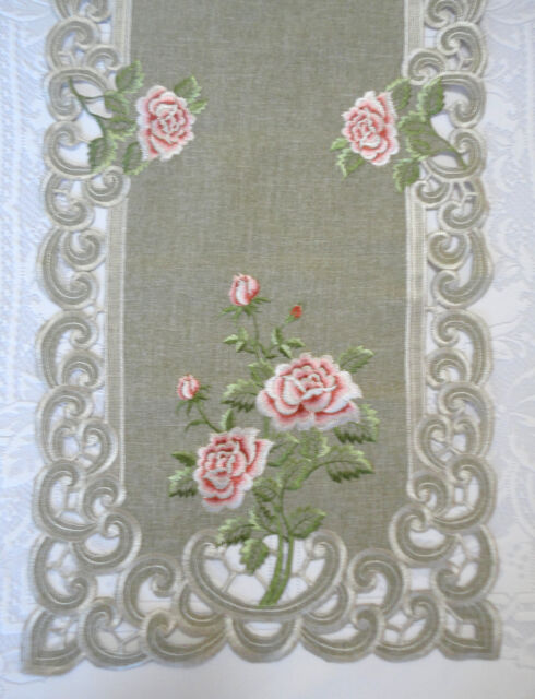 "BELLA ROSA  Lace Doily 27""  Runner Pink Rose Romantic Victorian"