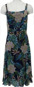 Vestido-de-verano-Una-M-amp-s-Azul-Verde-Per-mezclar-con-Tiras-Forrado-de-chifon-6-22-RRP-45