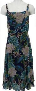 Per-Una-M-amp-S-Blue-Green-Mix-Chiffon-Strappy-Lined-Summer-Dress-6-22-RRP-45