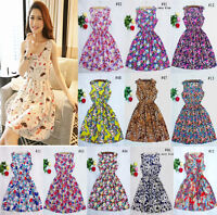 New Summer Women Casual Bohemian Floral Sleeveless Beach Chiffon Dress UK Size 8