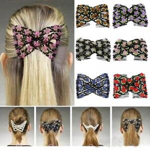 1PC-Flower-Bead-Stretchy-Hair-Combs-Double-Magic-Slide-Metal-Comb-Clip-Hairpins