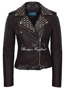 039-ROCKSTAR-039-Ladies-Leather-Jacket-Brown-Studded-BIKER-FASHION-REAL-LEATHER-4326