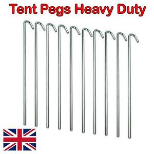 10/20/50/100 Heavy Duty Galv Steel Tent Pegs 3x150mm Metal Camping Ground Sheet