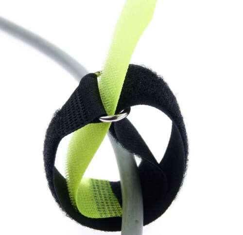 100 Klettband Kabelbinder 30 cm x 25 mm neon gelb Klettbänder Kabelklettband Öse
