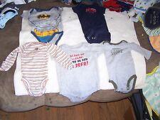 5 Little Boys 0-3M Onepiec Good Shape, Batman. Little Hero, Grandmas Cub, Footba