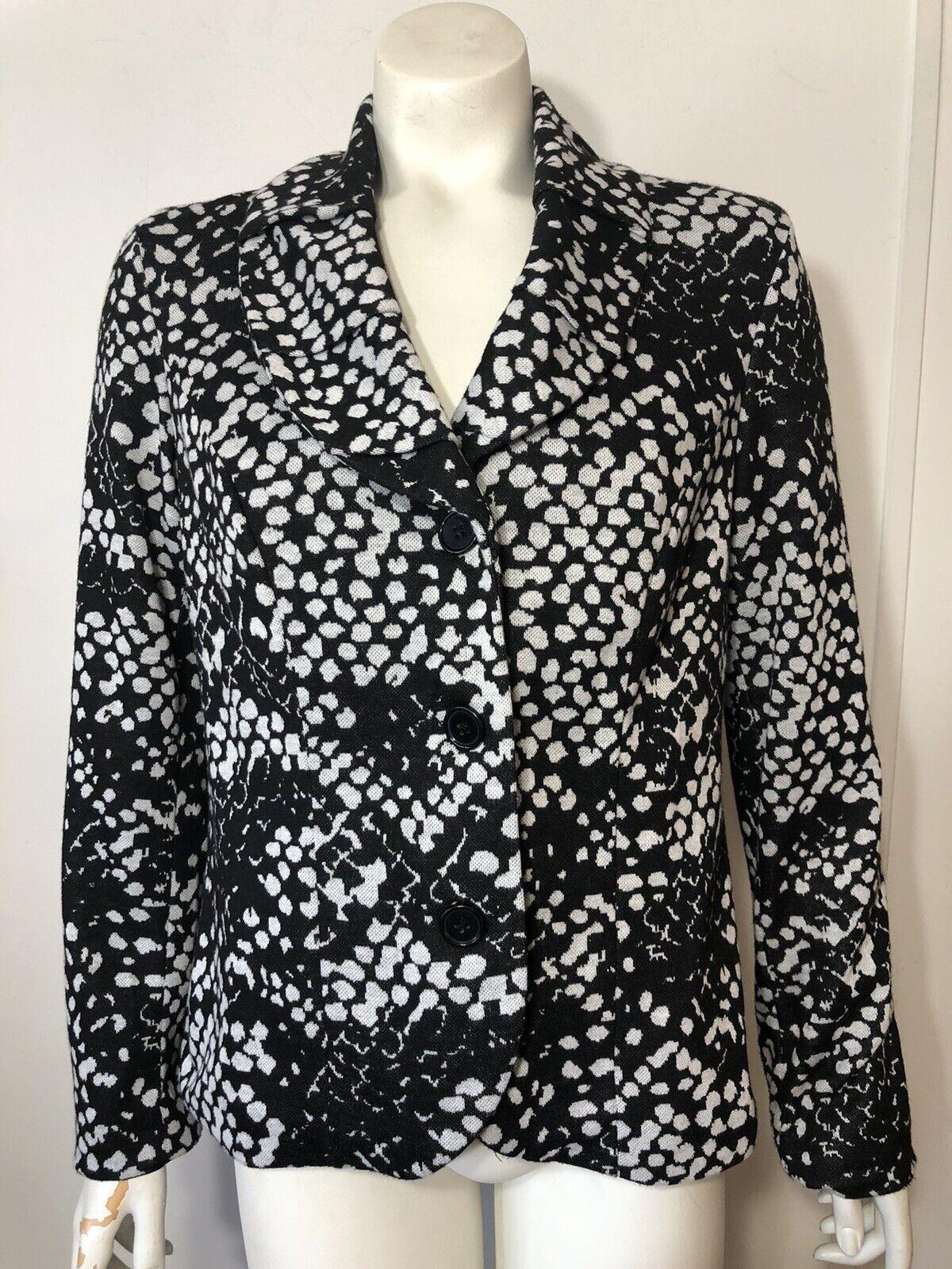 Carole Little Womens Medium Black White Knit Blazer Lined 3 Button Career