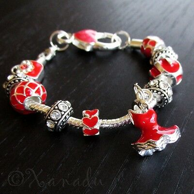 Lady In Red European Charm Bracelet - Red Dress, Red Handbag, Red Heart Beads