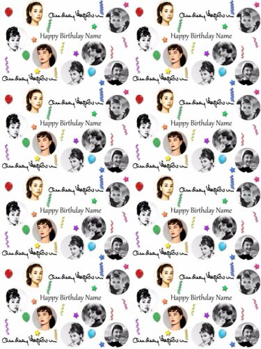 Audrey Hepburn Personalised Birthday Wrapping Paper ADD NAME//S CHOOSE BACKGROUND