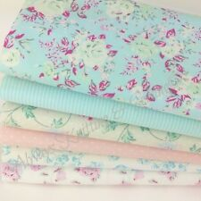 Pastel pink & blue garden floral 6 piece fat quarter bundle 100% cotton fabric
