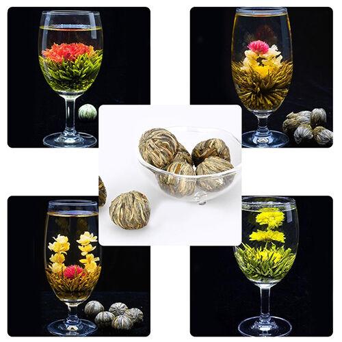CREATIVE BEAUTIFUL 4 BALLS DIFFERENT TYPES HANDMADE BLOOMING FLOWER GREEN TEA