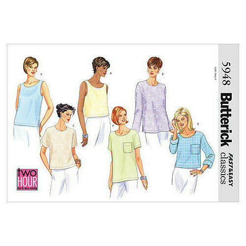 White Butterick Patterns B5948 Size 14-16-18 Misses Petite Top Pack of 1
