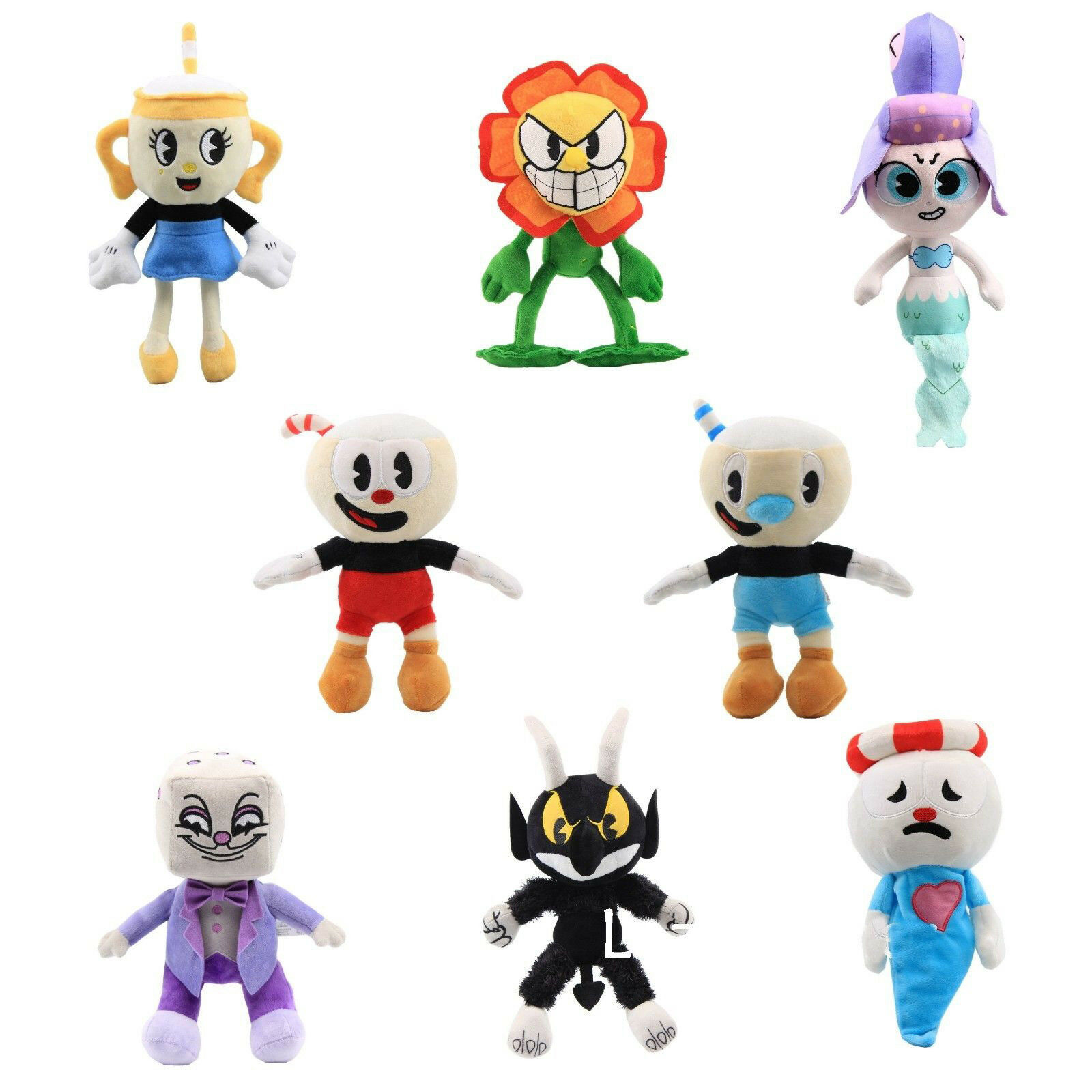 Cuphead & Mugman Ghost Chalice Devil Boss Demon King Dice Plush Figure Doll Toys