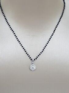 18Carat-White-Gold-amp-Diamond-Mangalsutra-Chain-amp-Pendant-18-039-039-0-39ct-SI-G-H