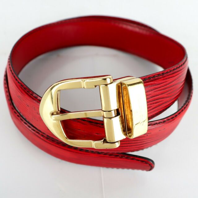 Auth LOUIS VUITTON CEINTURE CLASSIC Ladies Belt Epi Castilian Red 59-68  23-26.7 c6e3bc28268