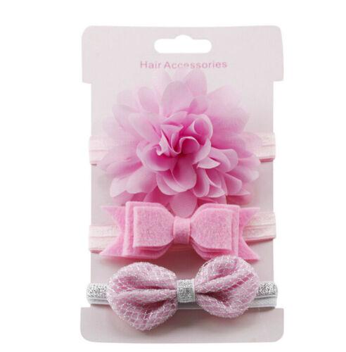 3x//Set Newborn Girl Bow Headband Ribbon Elastic Baby Headdress Kids Hair Band YH