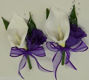 1x-WEDDING-FLOWER-BRIDAL-FLOWERS-SILK-CALLA-LILY-PIN-CORSAGE-WHITE-PURPLE