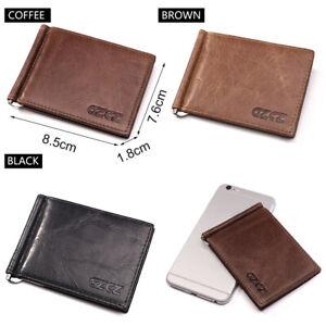 Wallet slim money clip credit card holder ID business mens genuine leather brown