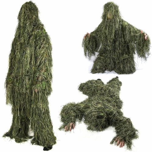 UK Gillie 5pcs Suit Childrens 3D Woodland Camo Camouflage Hunting Burlap 2020