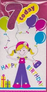 Age 7 7th Happy Birthday Name Card For Girl Grand Daughter Niece