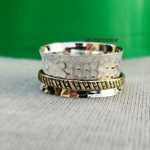 Solid-925-Sterling-Silver-Spinner-Ring-Wide-Band-Meditation-Statement-Jewelry-g2