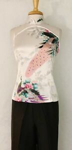 Asian-Chinese-Women-Cheongsam-Qipao-Style-Halter-Top-Blouse-with-Peacock-print