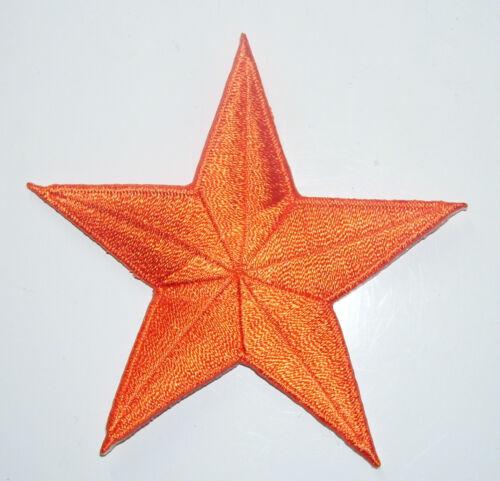 BRIGHT ORANGE 2 inch iron on star patch applique kid embellishment 185