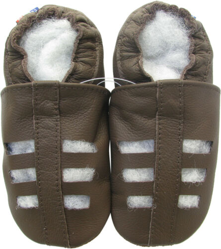 new soft sole leather baby sandals dark brown 0-6m