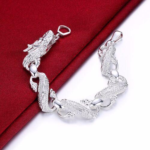 Asamo Dragon Bracelet en Argent Sterling 925 Plaqué Bijoux Dragon Femmes Hommes