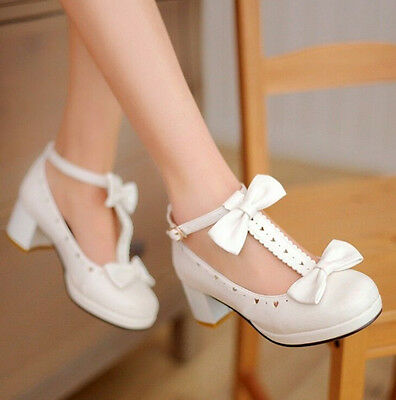2018 Womens Mary Janes Lolita Sweet Bow Tie T-Strap Shoes Heart Hole Plus Size