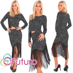 Womens Boho Black Suit Fringe Pencil Skirt Blouse UK Stock Animal Pattern FC2091